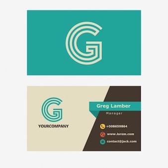 Carte d'affaires avec lettre g