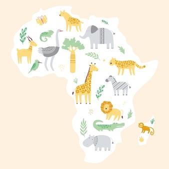 Carte de l'afrique avec des animaux de zoo africains mignons