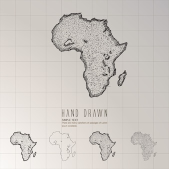 Carte de l'afrique dessinés à la main.
