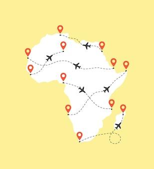 Carte de l'afrique avec des trajectoires de vol d'avion