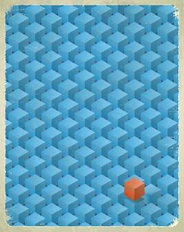 Carte âgée avec motif en cubes