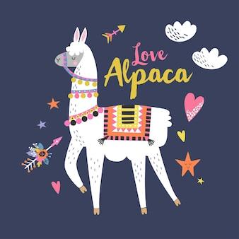 Carte d'alpaga d'amour pour les vacances et la décoration avec le lama mignon et les éléments dessinés à la main.