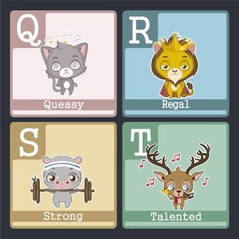 Carte alphabétique avec dessin animé de q à r