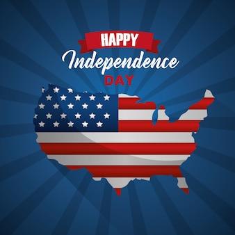Carte américaine avec drapeau heureuse fête de l'indépendance