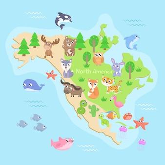 Carte de l'amérique du nord avec des animaux. design plat.
