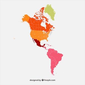 Carte de l'amérique du nord et du sud
