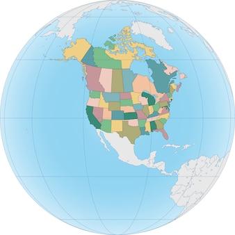 Carte de l'amérique du nord avec les états-unis et le canada