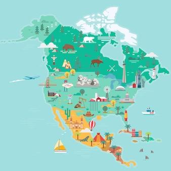Carte de l'amérique du nord sites touristiques et de voyage