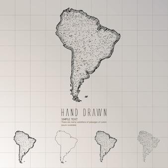 Carte de l'amérique du sud dessinés à la main.