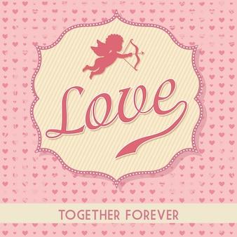 Carte d'amour au cours de l'illustration vectorielle fond rose