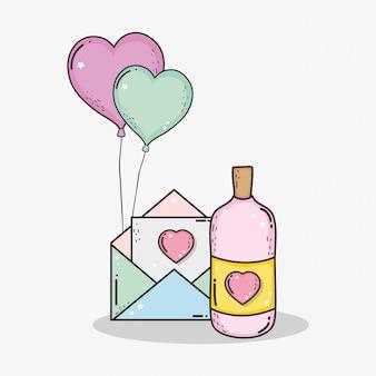 Carte d'amour avec des ballons de botion et de coeurs en bouteille