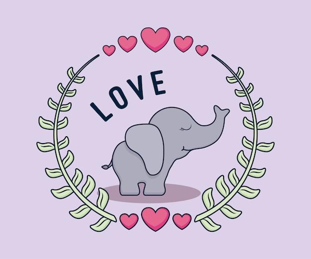 Carte d'amour avec l'éléphant