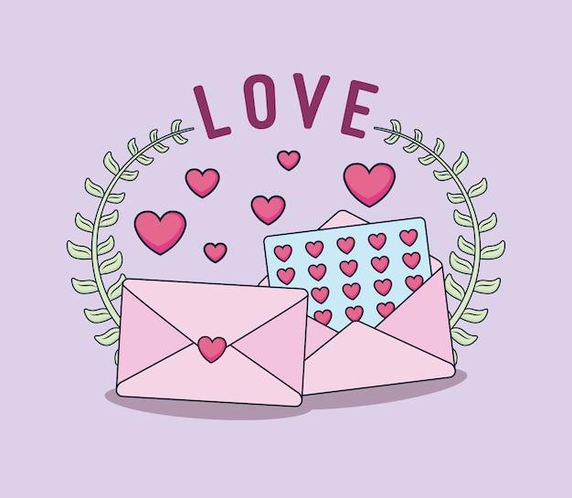 Carte d'amour avec des enveloppes