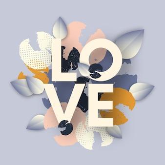 Carte d'amour avec des fleurs et des feuilles dessinées à la main