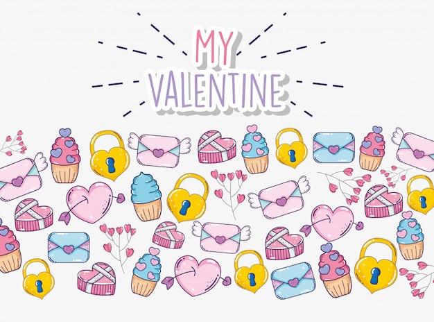 Carte d'amour avec fond de crème glacée et cadenas