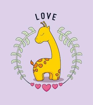 Carte d'amour avec girafe mignonne