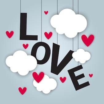 Carte d'amour happy valentines day concept avec des nuages de papier découpé et des formes de coeur