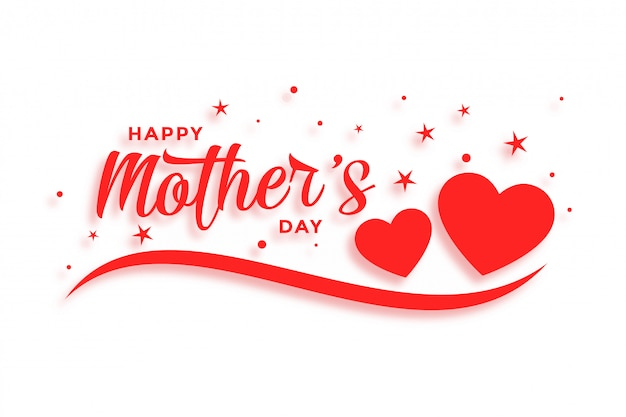 Carte d'amour heureuse fête des mères avec deux coeurs