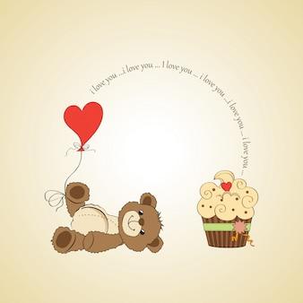 Carte d'amour mignonne avec ours en peluche