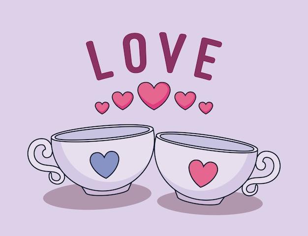Carte d'amour avec des tasses à café