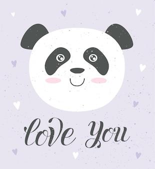 Carte d'amour de vecteur d'affiche d'animal mignon avec des objets adorables sur fond de taxture