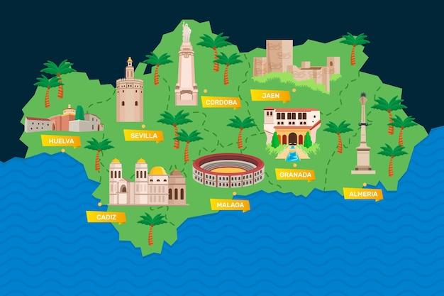 Carte de l'andalousie avec points de repère