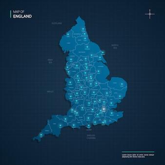 Carte de l'angleterre avec des points lumineux au néon bleu