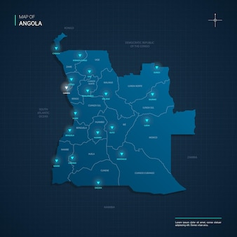 Carte de l'angola avec des points lumineux au néon bleu