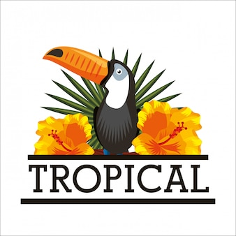 Carte d'animal feuilles tropicales de fleurs