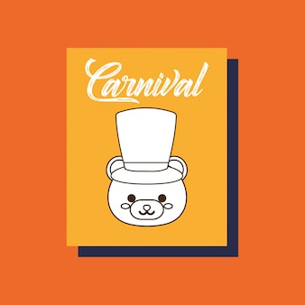 Carte d'animal ours carnaval