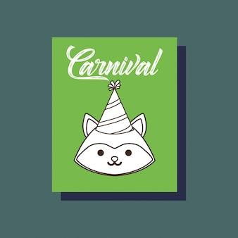 Carte d'animal renard carnaval