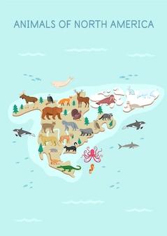 Carte des animaux d'amérique du nord