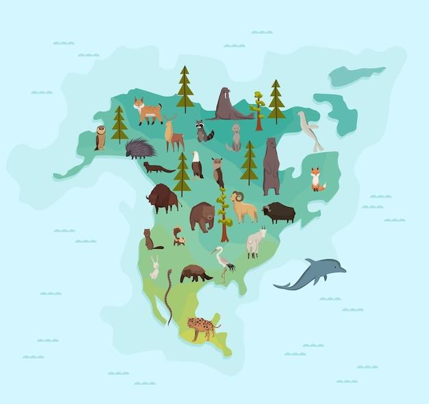 Carte des animaux de l'amérique du nord