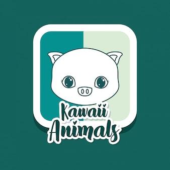 Carte d'animaux kawaii