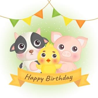 Carte d'anniversaire avec des animaux de la ferme mignons.