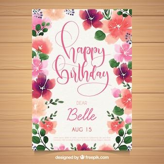 Carte d'anniversaire aquarelle avec de belles fleurs