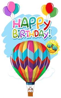 Carte d'anniversaire ballon air chaud