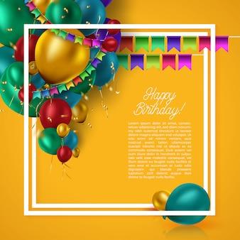 Carte d'anniversaire avec des ballons colorés et des confettis sur fond orange