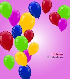 Carte d'anniversaire avec des ballons colorés mignons