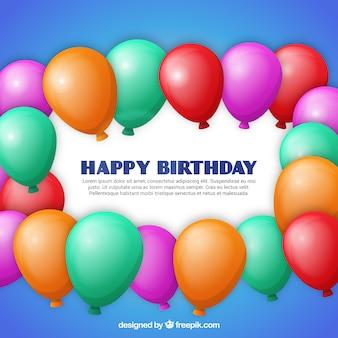 Carte d'anniversaire avec des ballons colorés