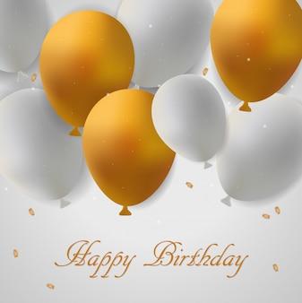 Carte d'anniversaire avec des ballons or et blancs