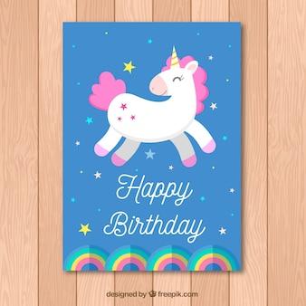 Carte d'anniversaire bleue avec licorne