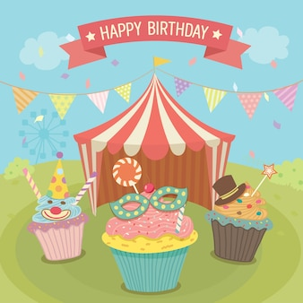Carte d'anniversaire de carnaval de cupcales