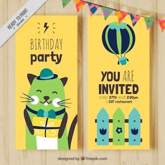 Carte d'anniversaire de chat convivial