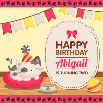 Carte d'anniversaire chat mignon