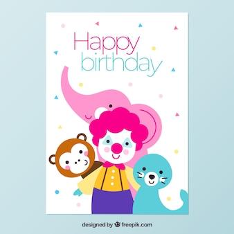 Carte d'anniversaire avec un clown et des animaux