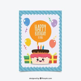 Carte d'anniversaire colorée au design plat