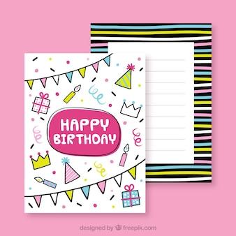 Carte d'anniversaire colorée dans un style dessiné à la main