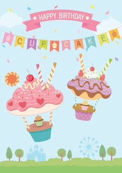 Carte d'anniversaire de cupcakes ballons