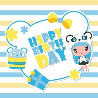 Carte d'anniversaire de dessin animé mignon fille panda